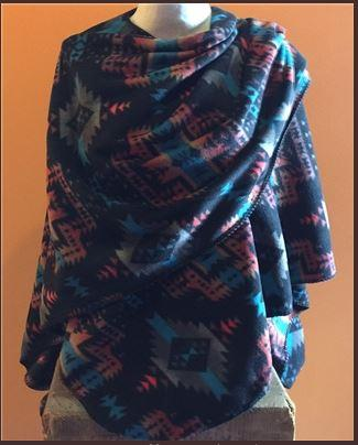 Rockmount Ranch Wear Accessory: Poly Fleece Poncho Black Turquoise