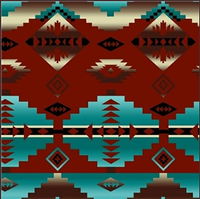 A Rockmount Ranch Wear Blanket: Native American Design Brick & Turquoise