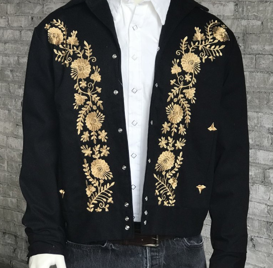 Rockmount Ranch Wear Men's Vintage Western Jacket: Gabardine Floral Embroidered Bolero 2XL