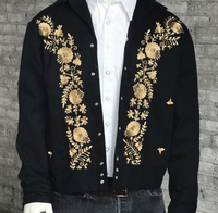 Rockmount Ranch Wear Men's Vintage Western Jacket: Gabardine Floral Embroidered Bolero Gold Advance Order