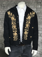 Rockmount Ranch Wear Men's Vintage Western Jacket: Gabardine Floral Embroidered Bolero Gold 2X Advance Order