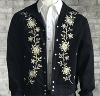 Rockmount Ranch Wear Men's Vintage Western Jacket: Gabardine Floral Embroidered Bolero Backordered