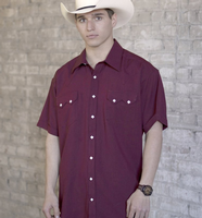 Rockmount Ranch Wear Men's Western Shirt: Solid Short Sleeves UV Burgundy
