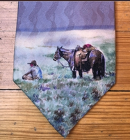 Rockmount Ranch Wear Accessory: Necktie Teal Blake Sagebrush Picnic Silk
