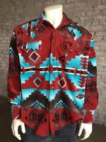 Rockmount Ranch Wear Men's Western Shirt: Winter Fleece Native American Inspired Rust 2X