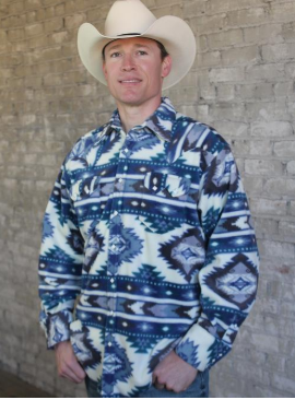 Rockmount Ranch Wear Men's Western Shirt: Winter Fleece Native American Inspired Pattern Blue