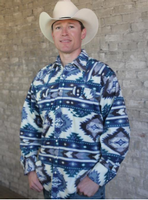 B Rockmount Ranch Wear Men's Western Shirt: Winter Fleece Native American Inspired Pattern Blue Backorder