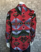 Rockmount Ranch Wear Men's Western Shirt: Winter Fleece Native American Inspired Pattern Green Red