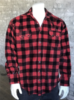 Rockmount Ranch Wear Men's Western Shirt: Winter Fleece Buffalo Check  Red Backorder