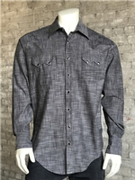 Zsold Rockmount Ranch Wear Men's Western Shirt: Chambray Cross Hatch Black SOLD