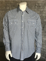 Rockmount Ranch Wear Men's Western Shirt: A Check Windowpane Blue S-XL