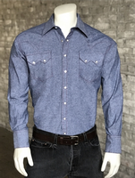 Rockmount Ranch Wear Men's Western Shirt: Denim Chambray Slim Fit 14.5-17.5