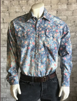 Rockmount Ranch Wear Men's Western Shirt: Print Floral Blue S-XL Back Ordered