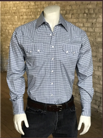 Rockmount Ranch Wear Men's Western Shirt: A Check Windowpane Plaid Blue S-XL