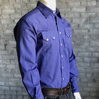 Rockmount Ranch Wear Men's Western Shirt: Dress Shirt Tattersall Blue 2X Backordered