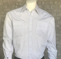 Rockmount Ranch Wear Men's Western Shirt: Dress Shirt Tattersall White 2XL