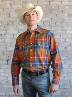 Rockmount Ranch Wear Men's Western Shirt: Winter Flannel Plaid Orange