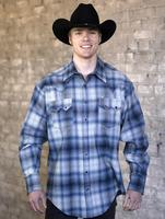 Rockmount Ranch Wear Men's Western Shirt: Winter Flannel Plaid Blue Grey