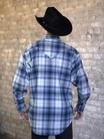 Rockmount Ranch Wear Men's Western Shirt: Winter Flannel Plaid Blue Grey 2X