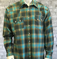 Rockmount Ranch Wear Men's Western Shirt: Winter Flannel Plaid Green Turquoise 2X Backordered