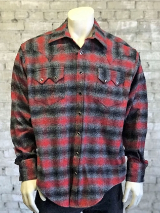 Rockmount Ranch Wear Men's Western Shirt: Winter Flannel Plaid Grey Red 2XL
