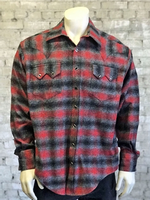 Rockmount Ranch Wear Men's Western Shirt: Winter Flannel Plaid Grey Red 2X