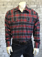 Rockmount Ranch Wear Men's Western Shirt: Winter Flannel Plaid Grey Red