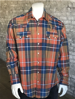 Rockmount Ranch Wear Men's Western Shirt: Winter Flannel Plaid Orange 2X