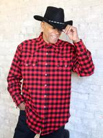 ZSold Rockmount Ranch Wear Men's Western Shirt: Winter Flannel Plaid Red Black SOLD