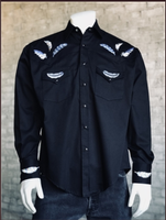 Rockmount Ranch Wear Men's Vintage Western Shirt: A A Feather Embroidery Black M-XL