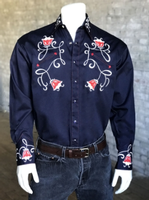 Rockmount Ranch Wear Men's Vintage Western Shirt: Fancy Tulip Floral Embroidery Navy