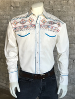 Rockmount Ranch Wear Men's Vintage Western Shirt: Native American Inspired Design Ivory