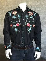 Rockmount Ranch Wear Men's Vintage Western Shirt: Fancy Floral on Black
