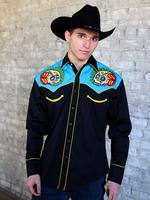 Rockmount Ranch Wear Men's Vintage Western Shirt: Fancy Skull Sugar Black