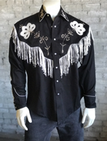 Rockmount Ranch Wear Men's Vintage Western Shirt: Fancy Fringe Black 2X