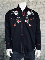 Rockmount Ranch Wear Men's Vintage Western Shirt: Skulls & Roses Black