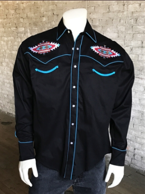 Rockmount Ranch Wear Men's Vintage Western Shirt: A A Native American Inspired Design Black M, XL