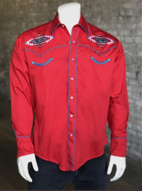 Rockmount Ranch Wear Men's Vintage Western Shirt: A Native American Inspired Design Red S-XL