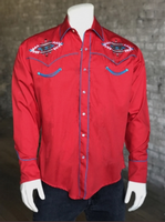 Rockmount Ranch Wear Men's Vintage Western Shirt: A Native American Inspired Design Red