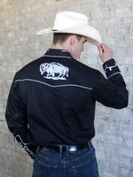 Rockmount Ranch Wear Men's Vintage Western Shirt: Fancy White Buffalo on Black 2X