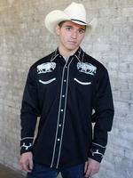Rockmount Ranch Wear Men's Vintage Western Shirt: Fancy White Buffalo on Black
