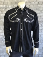 ZSold Rockmount Ranch Wear Men's Vintage Western Shirt: A Melody Musical Notes Black SOLD