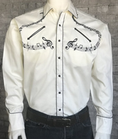 ZSold Rockmount Ranch Wear Men's Vintage Western Shirt: A Melody Musical Notes Ivory SOLD