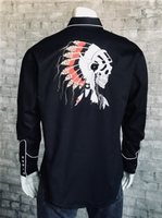 B Rockmount Ranch Wear Men's Vintage Western Shirt: Chief's Skull Black 2X-3X Backorder