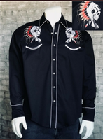Rockmount Ranch Wear Men's Vintage Western Shirt: A A Chief's Skull Black S-XL