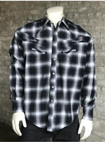 Rockmount Ranch Wear Men's Vintage Western Shirt: Shadow Plaid w Guitars Black and Blue S-XL