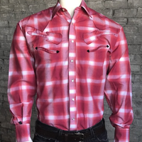 Rockmount Ranch Wear Men's Vintage Western Shirt: Shadow Plaid w Guitars Red S-XL