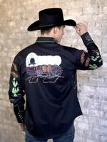 Rockmount Ranch Wear Men's Vintage Western Shirt: Fancy Palm Trees and Wagon Wheels Black 2X