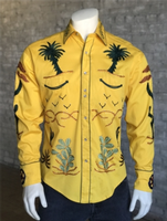 B Rockmount Ranch Wear Men's Vintage Western Shirt: Fancy Palm Trees and Wagon Wheels Gold Backorder