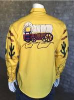 B Rockmount Ranch Wear Men's Vintage Western Shirt: Fancy Palm Trees and Wagon Wheels  Gold 2X Backorder